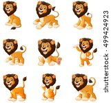 Stock vector vector illustration of lion cartoon set collection 499424923