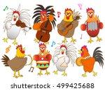 the concert of the chicken. | Shutterstock .eps vector #499425688