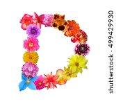 colorful flower letter d | Shutterstock . vector #499429930