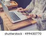 close up of laptop on wooden... | Shutterstock . vector #499430770