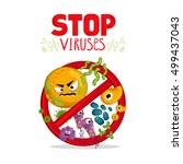 stop viruses symbol. cartoon... | Shutterstock .eps vector #499437043