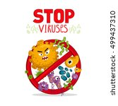 stop viruses symbol. cartoon... | Shutterstock .eps vector #499437310