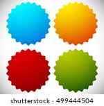 badge shapes in 4 bright colors | Shutterstock .eps vector #499444504
