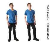 cute teenager boy in blue t... | Shutterstock . vector #499456543