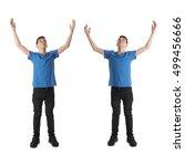 cute teenager boy in blue t...   Shutterstock . vector #499456666