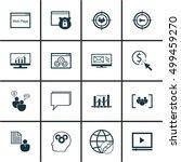 set of seo icons on brain... | Shutterstock .eps vector #499459270
