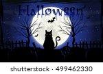 halloween background. evil cat... | Shutterstock .eps vector #499462330
