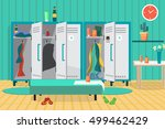 interior of a gym locker room.... | Shutterstock .eps vector #499462429
