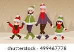 walking happy family outdoors... | Shutterstock .eps vector #499467778