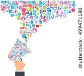 megaphone and cloud technology... | Shutterstock .eps vector #499471180