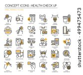 health check up   thin line and ... | Shutterstock .eps vector #499475473