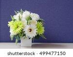Flower Bouquet In White Vase...