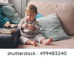cute happy baby boy playing at... | Shutterstock . vector #499483240