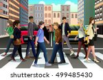 a vector illustration of city... | Shutterstock .eps vector #499485430