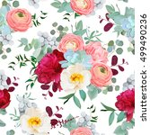 autumn mixed bouquets of peony  ... | Shutterstock .eps vector #499490236