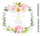 square floral vector frame with ... | Shutterstock .eps vector #499490254