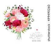 luxury autumn vector bouquet... | Shutterstock .eps vector #499490260