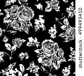 black and white floral pattern  | Shutterstock .eps vector #499493410