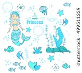 hand drawn little mermaid and... | Shutterstock .eps vector #499511329