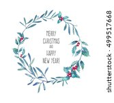 watercolor merry christmas and... | Shutterstock . vector #499517668