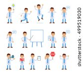 set of doctor characters posing ... | Shutterstock .eps vector #499519030