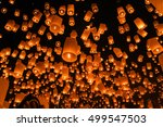 chinese sky lanterns floating... | Shutterstock . vector #499547503