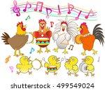 the concert of the chicken. | Shutterstock .eps vector #499549024