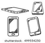 set of smart phone design with...   Shutterstock .eps vector #499554250