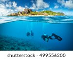 divers below the surface in... | Shutterstock . vector #499556200