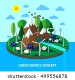 green energy eco island with... | Shutterstock .eps vector #499556878