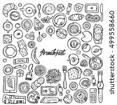 hand drawn doodle breakfast... | Shutterstock .eps vector #499558660
