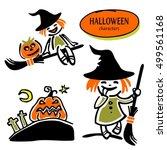 set of halloween characters.... | Shutterstock .eps vector #499561168