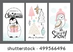 Stock vector set of christmas cards with cute animals 499566496