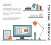 workplace with desk  computer ... | Shutterstock .eps vector #499567519