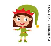 cute little christmas girl elf... | Shutterstock .eps vector #499579063