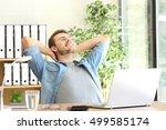 relaxed entrepreneur sitting on ...   Shutterstock . vector #499585174
