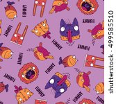seamless pattern with funny... | Shutterstock .eps vector #499585510