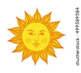 hand drawn sun with face and... | Shutterstock .eps vector #499589584