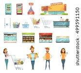 supermarket grocery shopping... | Shutterstock .eps vector #499591150