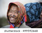 Small photo of ZIRO, ARUNACHAL PRADESH/INDIA - DECEMBER 14, 2013: Women of the Apatani tribe, with nose plugs, The Apatani are a tribal group of people living in the Ziro valley in Arunachal Pradesh, India.