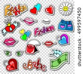 big set of girl fashion patch ... | Shutterstock .eps vector #499597450