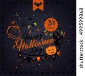 halloween vector illustration.... | Shutterstock .eps vector #499599868
