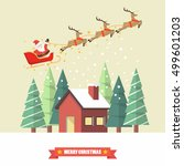 santa claus and his reindeer... | Shutterstock .eps vector #499601203