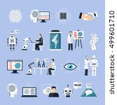 artificial intelligence icons... | Shutterstock .eps vector #499601710