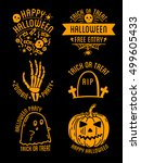 set of halloween stylish logos... | Shutterstock .eps vector #499605433