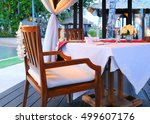 romantic dinner on a tropical... | Shutterstock . vector #499607176