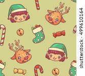 christmas seamless pattern with ... | Shutterstock .eps vector #499610164