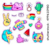 vector neon patch badges with... | Shutterstock .eps vector #499610980