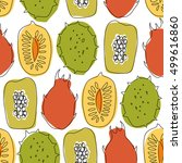 seamless pattern with tropical... | Shutterstock .eps vector #499616860