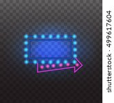 glowing neon light signs... | Shutterstock .eps vector #499617604